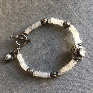"Jewelry - Rainbow moonstone, sterling silver bracelet ~7"""